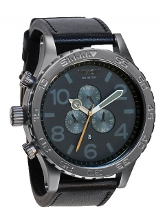 Uhr Nixon 51-30 Chrono LEATHER Watch all gunmetal/black