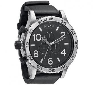 Uhr Nixon 51-30 Chrono LEATHER Watch antique silver/black