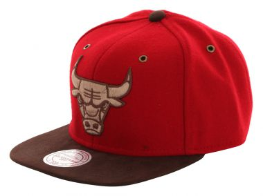 MITCHELL AND NESS CHICAGO BULLS LOGO Leather Snapback Cap 2014 red/brown