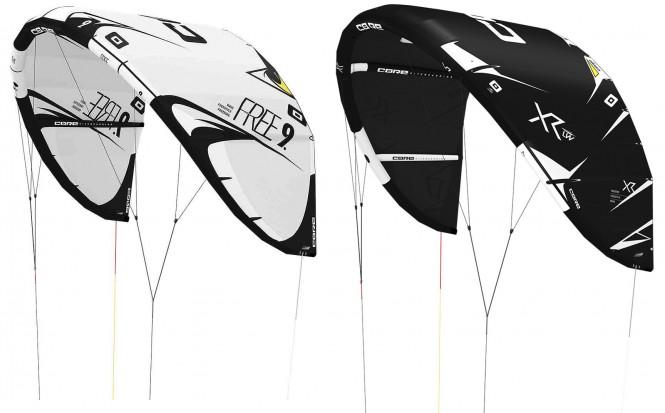 CORE FREE 13.5 white/black + XR4 19.0 tech black Kite Leichtwind Set