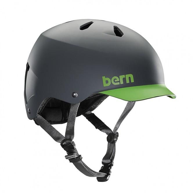 BERN WATTS H2O Helm 2019 matte grey/green brim - XXL