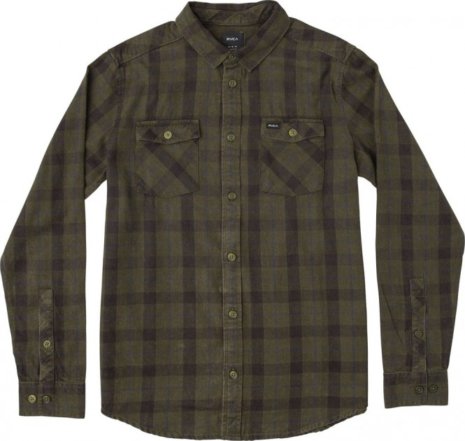 RVCA TREETS LS Hemd 2018 dark military - XL