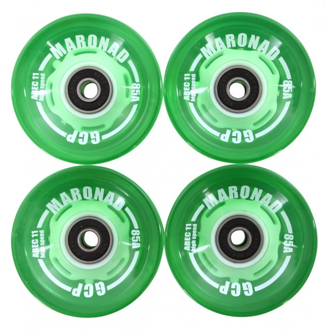 MARONAD LED 70mm Longboard 4er Rollenset green translucent