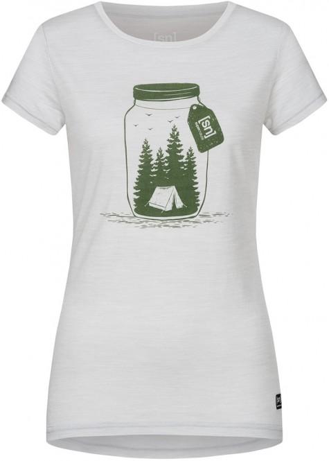 SUPER.NATURAL PRINTED T-Shirt 2020 light grey melange/millitarycamping jar - M