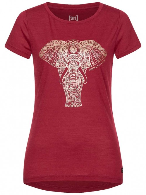 SUPER.NATURAL W YOGA POWER ELEPHANT T-Shirt 2021 rumba red/gold elephant - M