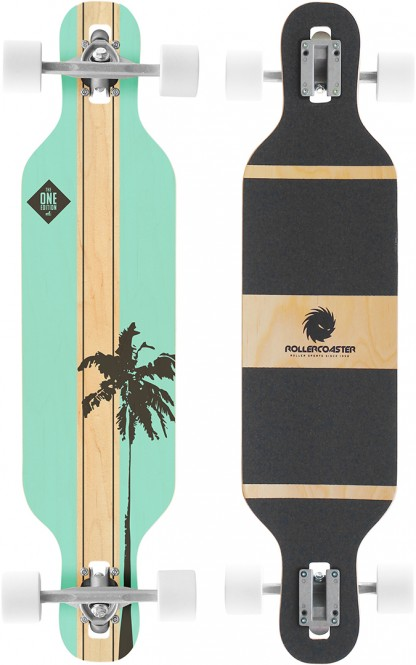 ROLLERCOASTER PALMS + STRIPES THE ONE EDITION Drop Through Longboard - PALMS