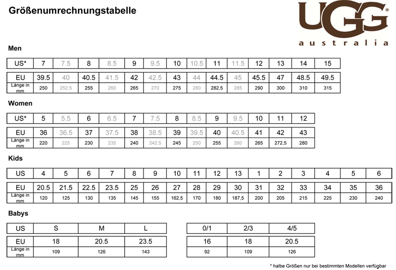 ugg butte size chart