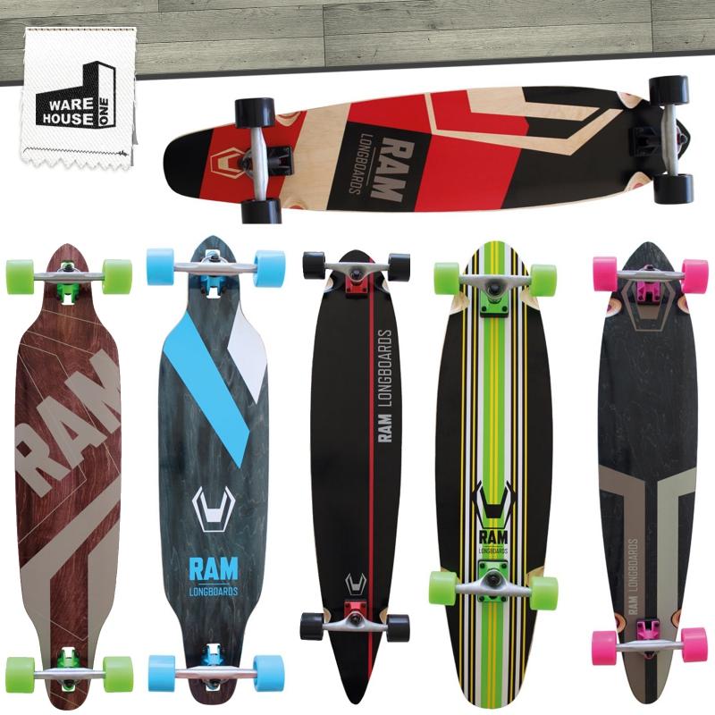ram longboard skateboard komplett set pin tail drop through summer deal neu. Black Bedroom Furniture Sets. Home Design Ideas